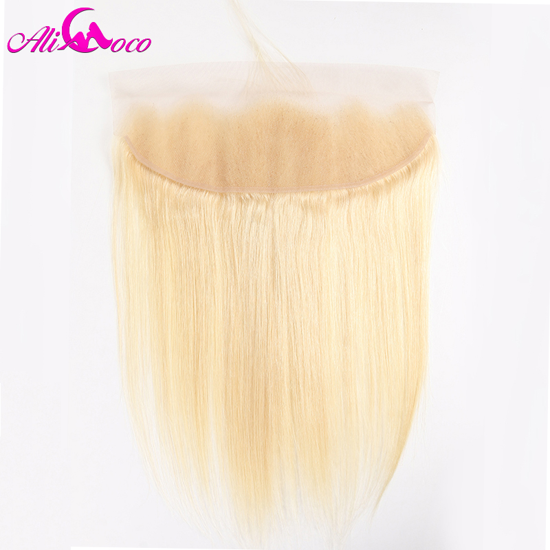 Ali Coco Brazilian Hair 13x4 Free Part 613 Blonde Lace Frontal Closure Straight Human Hair 150% Density Remy Hair Extensions image