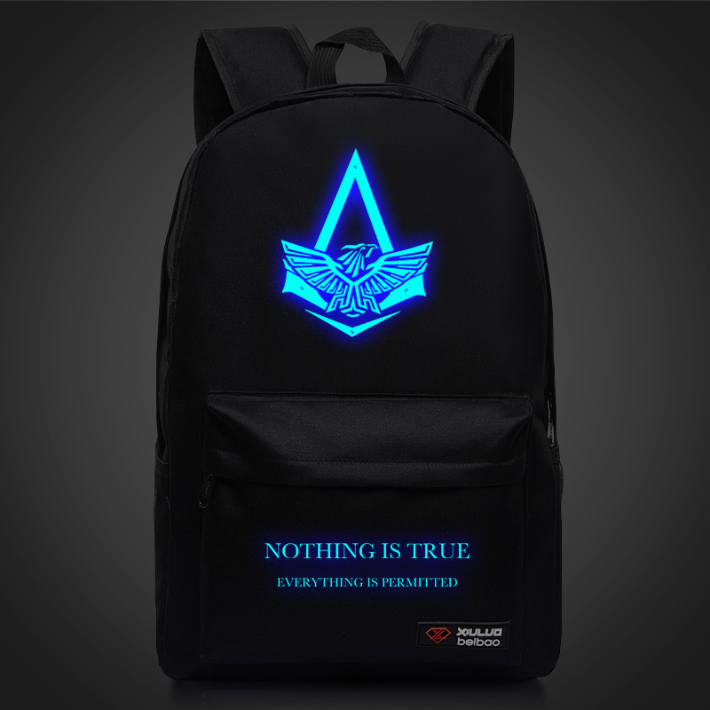 Assassins Creed Backpacks For Teenagers Luminous pattern School bags Unisex Mochila Assassin's Creed Luminous Printing Backpack assassins creed cosplay backpack men school bags official assassins creed syndicate logo school backpacks bag rucksack