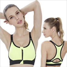 Adjustable high-intensity professional sports bra without rims shock zipper vest female running fitness yoga bra hot sale