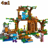 Minecrafted City Figures Building Blocks Tree Village Compatible LegoINGlys Gift For Kids Friends My Mine World 4In1
