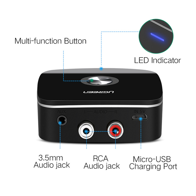 Car 4.1 Bluetooth Receiver Adapter 3.5mm to 2RCA AUX Audio Music Adapter for Car Speaker MP3 Phone Headphone