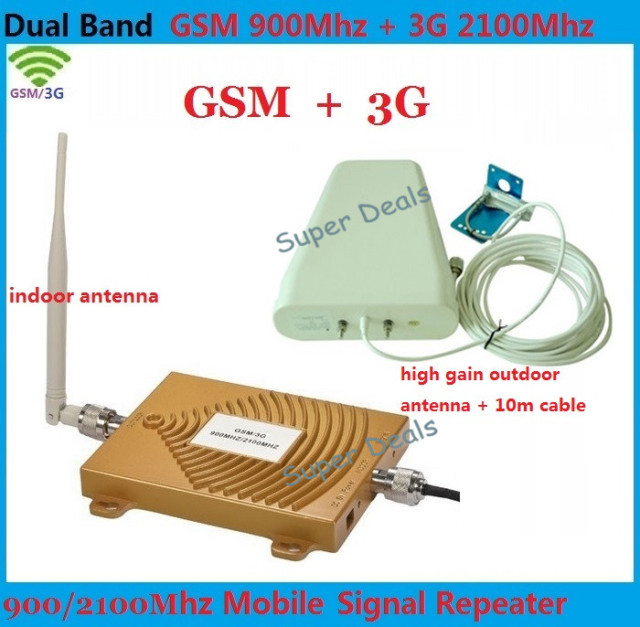 Dual Band 65dbi 3G CDMA 2100MHz + GSM 900Mhz GSM 3G Repeater , 2G 3G GSM Mobile Phone Signal Repeater 3G GSM Booster Amplifier