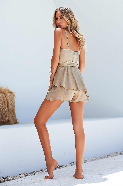 2019 verano Europa y América oro moda Sexy cuello en V profundo Sling Ruffled Irregular mono G3-81622