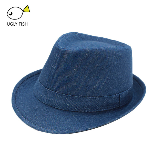 89b77e8a80f20b Women Men's Classic Structured Gangster Trilby Fedora Hat women mens panama men  fedora hat denim