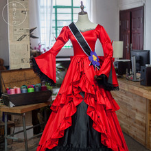 Anime Alice in Wonderland Gorgeous Evening Dress Night Party Lovely Red Lolita Cosplay costume O