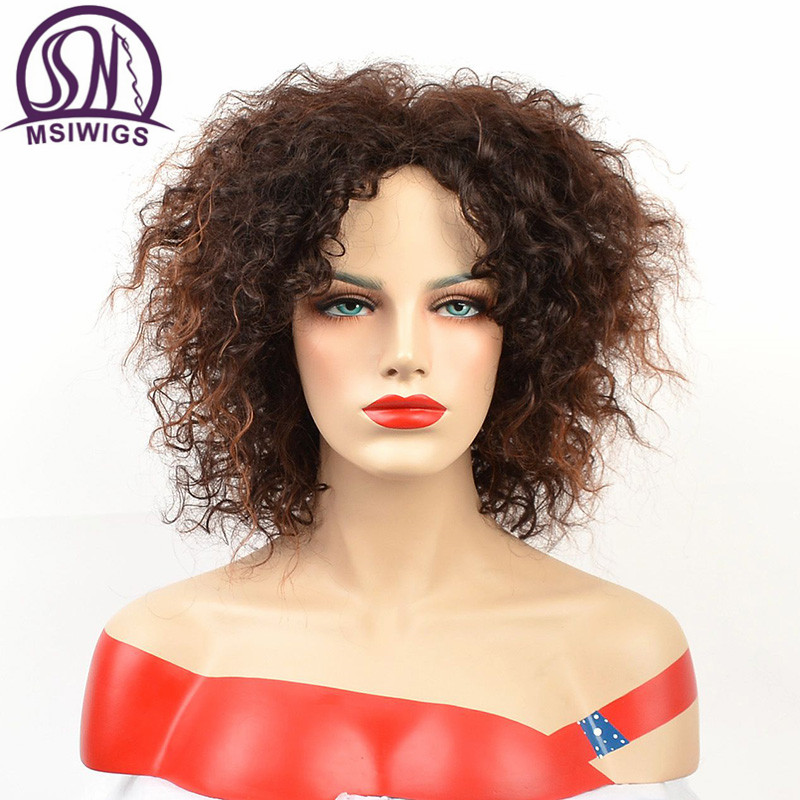 MSIWIGS Afro Medium Wigs For Women Ombre Brown Color Hair Synthetic Wig With Highlight