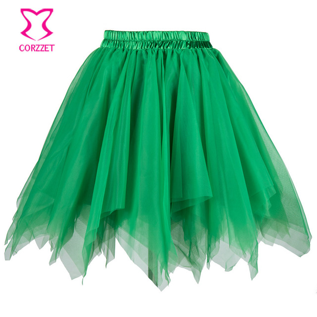 Green Multilayered Asymmetrical Tulle Gothic Tutu Skirt Women Sexy Corset Petticoat Underskirt Dance Club Wear Mini