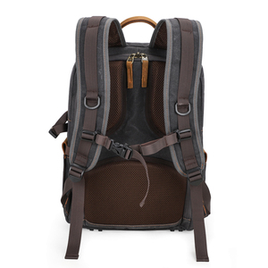 Image 4 - Waterproof Batik Canvas+Leather Shoulders Protect Bag Professional Photographic Camera Backpack for SLR Camera Lens Tripod Flash