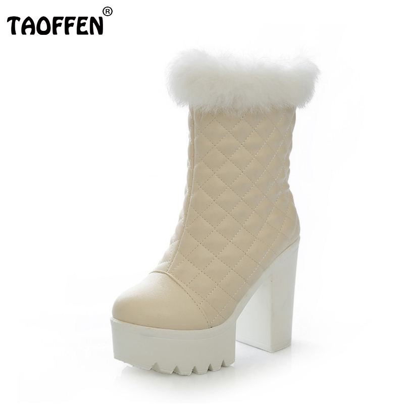 Free shipping ankle high heel short boots women snow fashion winter warm boot footwear P15700 EUR size 34-39
