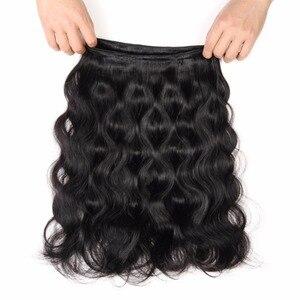 Image 5 - Brazilian Body Wave Human Hair 4 Bundles With Closure Brazilian Hair Extensions Non Remy Lace Closure With Weave Bundles 5 PCS