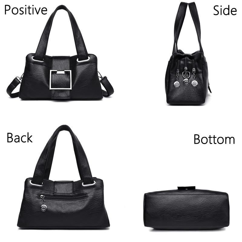 Image 4 - Women Leather Handbags Vintage Soft Leather Female Crossbody Shoulder Bags Designer Brand Ladies High Capacity Top Handle BagsShoulder Bags   -