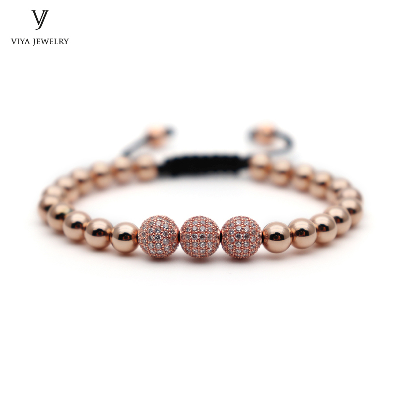 2016 New Rose Gold Anil Beads Bracelet 3 Drall Ball Clear CZ Beads Braided Boho Bracelet High end Men Jewelry Beads Accessories