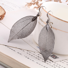 2017 Fashion Unique Natural Real Dipped Leaf Big Statement Earrings Bohemian Long Dabgle Earrings For Women Fine Jewelry Gift