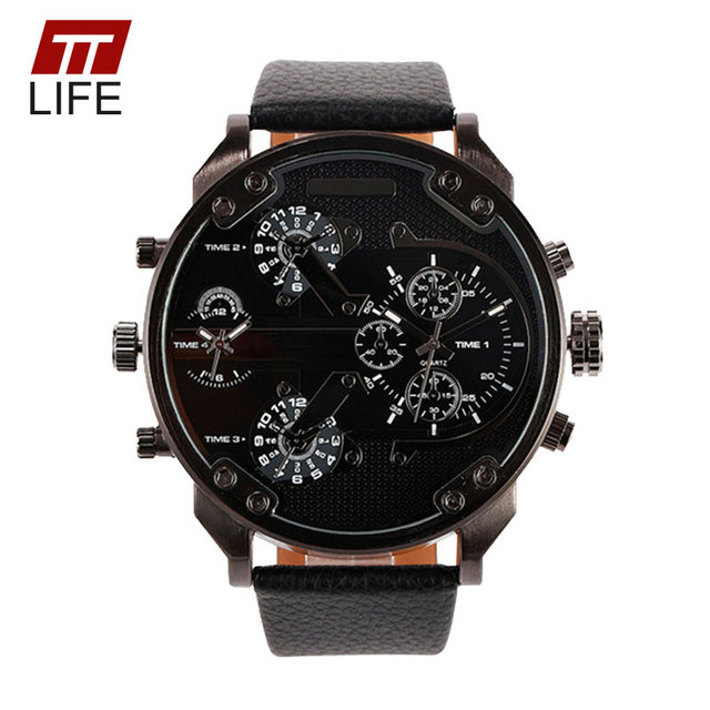 New TTLIFE Brand Army Military Leather Band Casual Quartz Watch Men Sport Watches Luxury Design Timepiece Dual Time Wristwatches