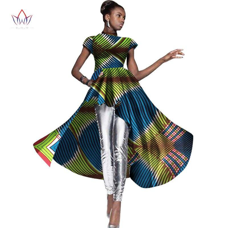 BRW Nové módní africké šaty Šaty s krátkým rukávem Asymetrické dámské šaty Bazin Riche Dashiki Afrika Tiskové oblečení WY1375