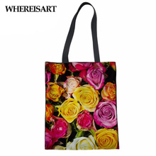 WHEREISART Brand Women Shopping Tote Bag Rose Printing Healthy Handbag Bolsa Mujer Eco Volta Israel Canvas Bags