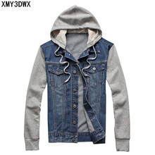 2019 Male hooded sportswear Outdoors Casual fashion Jeans Jackets Hoodies Cowboy Mens Denim Jacket and Coat Plus Size 4XL 5XL