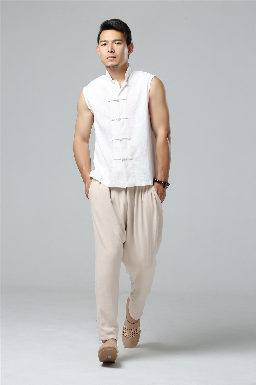 LZJN 2019 Men's Summer Waistcoat Chinese Style Vintage Breathable Linen Button Down Kung Fu Shirt Sleeveless Vest Jacket  (12)