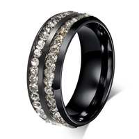 2015 New Design Black Stainless Steel Eternity Engagement Wedding Band Promise Rings For Him And Her