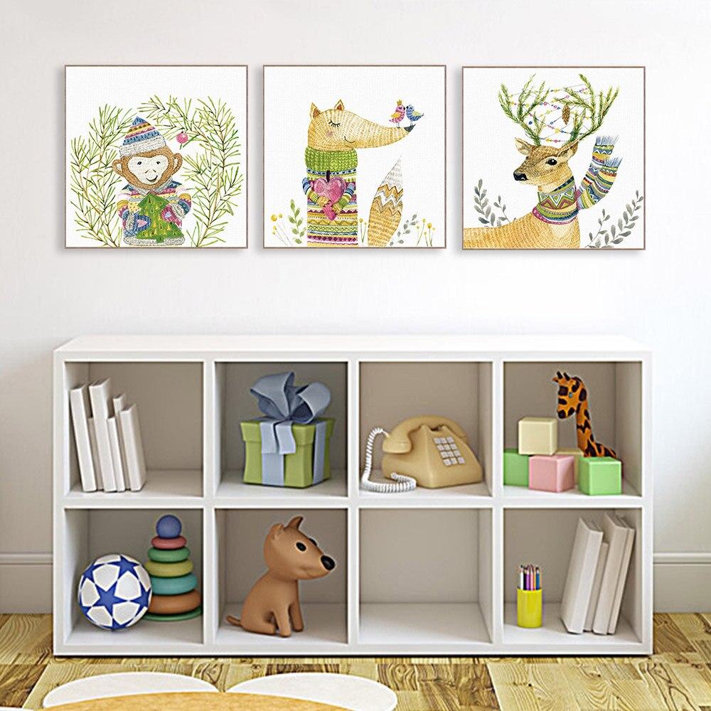 Acuarela Moderna Casa Kawaii Animales Deer Fox Canvas Art Print Poster Pintura Sin Marco Cuadro de
