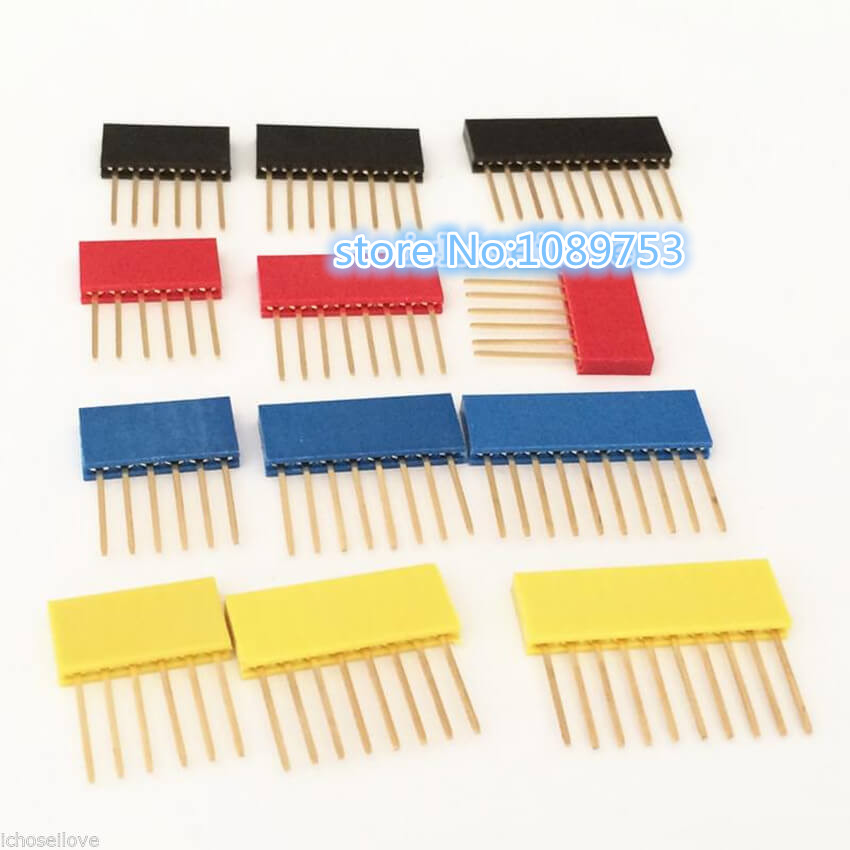 80Pcs Female Tall Stackable Header Connector Socket 11mm For Arduino Shield 4-Color Black/Red/Blue/Yellow manitobah унты tall grain mukluk женск 11 black черный