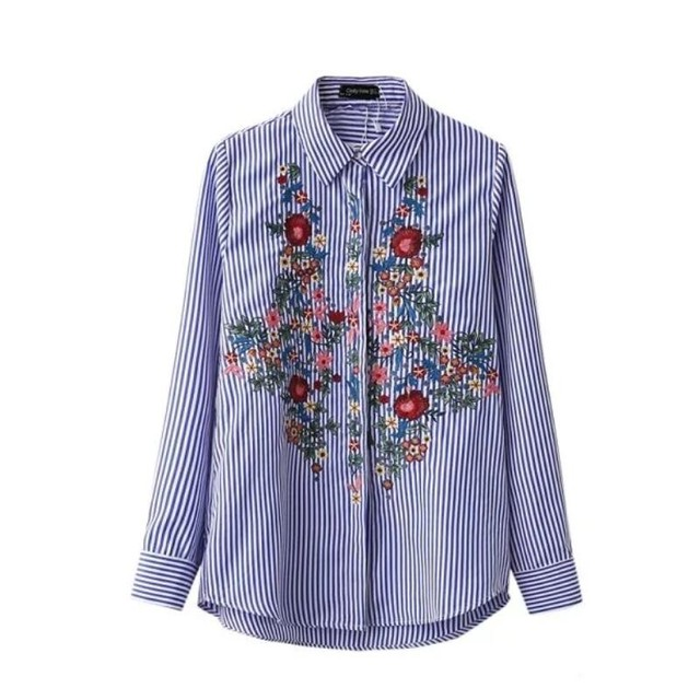 Floral Embroidery Cotton Blouse