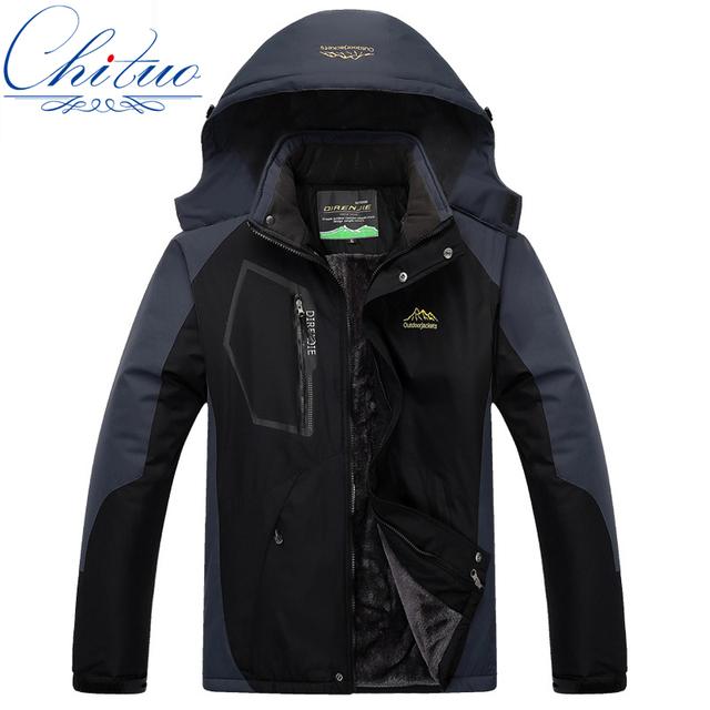 2016 La nueva chaqueta masculina/femenina, además de terciopelo grueso cálido otoño e invierno a prueba de viento impermeable chaqueta de la capa M-5XL