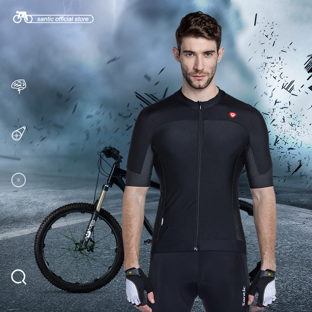 Santic Cycling Jersey Short Sleeve Jersey Black White Mens Bicycle Summer Breathable Dry Men's Cycling Sport Jersey MC02072H/W