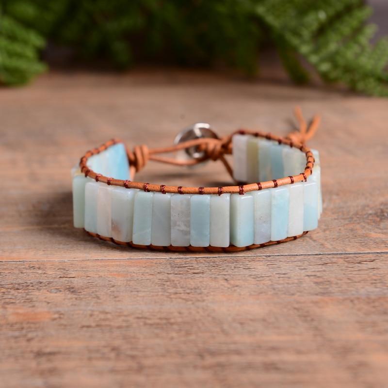 Braccialetto della boemia Amazonite Singolo Vintage Leather Wrap Bracelet Pietra Semi Preziosa Bordato Braccialetto Del Polsino trasporto di Goccia