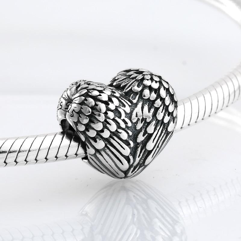 New 925 Sterling Silver fashion angel wing heart shape beads Fit Original Pandora Charm Bracelet Jewelry making