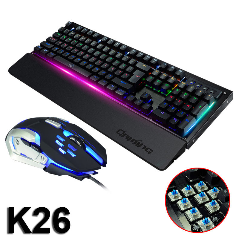 2017 Wired 104 Keys K26 Mixed LED Backlit illuminated Usb Ergonomic Multimedia Mechanical Gaming Keyboard + 3200DPI Gaming Mouse dare u wcg armor soldier 6400dpi 7 programmable buttons metab usb wired mechanical gaming mouse