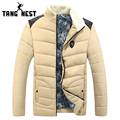 TANGNEST 2017 New Design Men's Fashion New Arrival Fur Stand Collar Patchwork Parka Hot Selling Fashion Winter Warm Coat MWM1615