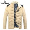 Tangnest 2017 novo design de moda nova chegada gola de pele patchwork parka dos homens venda quente da moda casaco de inverno quente mwm1615