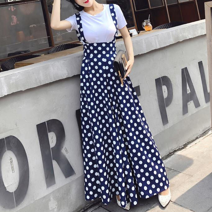 Plus Size 2XL!Women Summer Casual T-shirt+ Polka Dot Nt Women High Waist Strap Wide Leg Pants Sets
