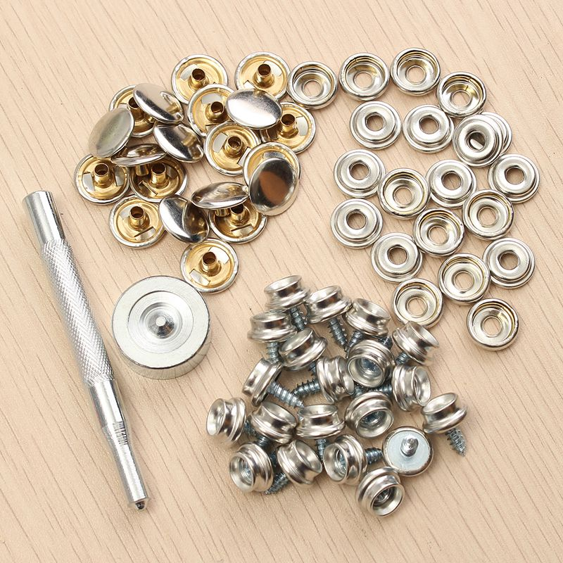 "62Pcs 3/8"" Snap Fastener Sets Boat Marine Cover Canvas Canopy Snap Fastener Sockets Screw and Tools for Boat Home Furniture"