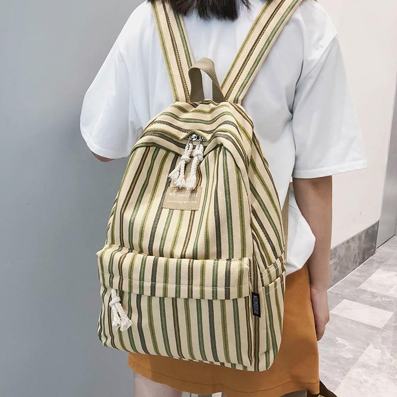 Image 2 - Female Canvas Plaid backpack Student women school bag girl Striped cute backpacks kawaii streak ladies harajuku bag book teenage-in Backpacks from Luggage & Bags