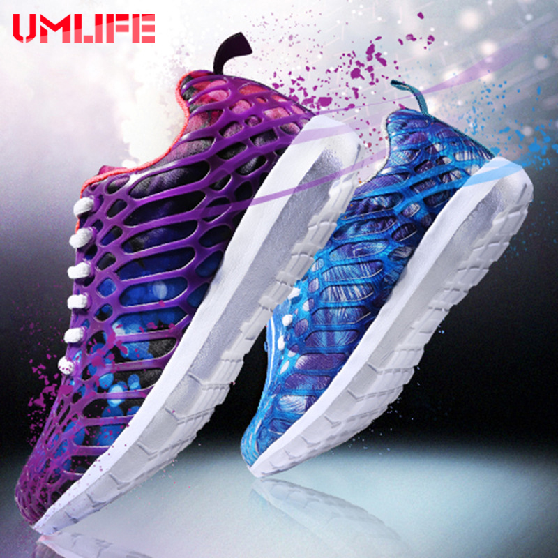 UMLIFE Running Shoes For Men Women Breathable Mesh Sneakers Colorful Lace Up Athletic Shoes Outdoor Jogging Sneakers Sport Shoe lace up breathable mesh athletic shoes