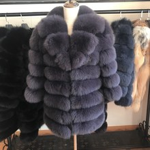 70CM Natural Fox Fur Coat 100% Real Vest Jacket 2019 Womens pretty Warm Coat.  Coats