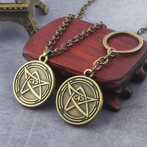 Rongji jewelry Howard Phillips Lovecraft Cthulhu Mythos necklace Keyrings Through The Gates of Silver Key Logo pendnat fashion(China)