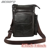 Genuine Leather With Belt Shoulder Bag Holster Zipper Pouch Hook Loop Cover Phone Case For Vivo XPlay X5 X6 X7 X9s X20 X21i