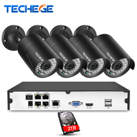 Techege 4CH 15V PoE NVR 2 0MP IP Camera POE System Cloud 1080 NVR KIT Surveillance