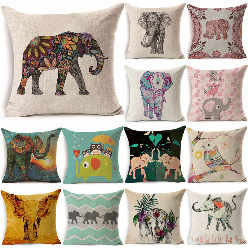 Power Source Confident 1pcs 43*43cm Lovely Owl Elephant Pattern Cotton Linen Throw Pillow Cushion Cover Car Home Sofa Decorative Pillowcase 40239