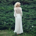 Women Summer White Dress Boho Evening Party Long Maxi Beach Dresses V-neck Chiffon Sundress