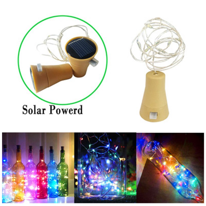 0.8M/1M/1.5M/2M  Solar LED Cork Wine Bottle Stopper Copper Wire Fairy String Light 8LED 10LED 15LED 20LED Outdoor Party Decor