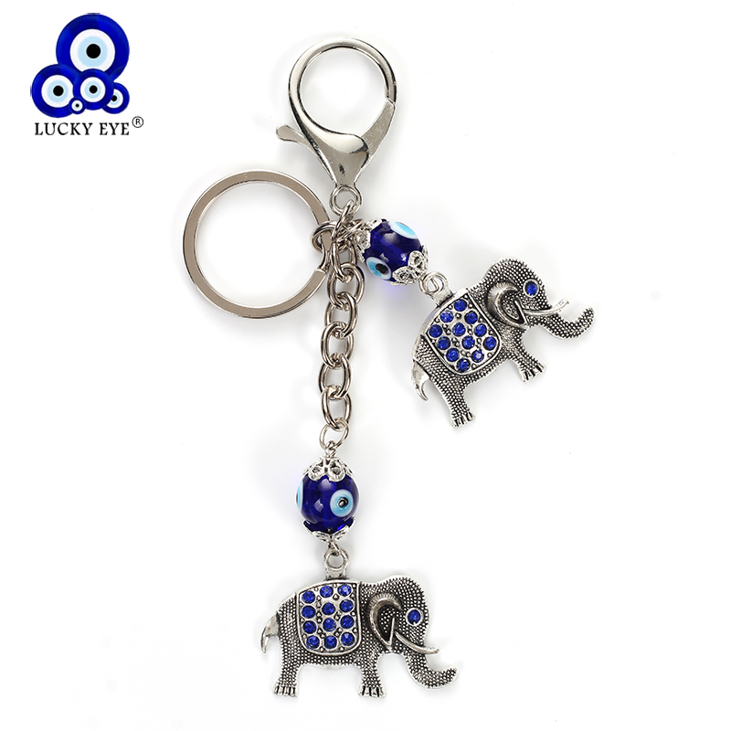 Humor Lucky Eye Blue Evil Eye Elephant Keychain Crystal Elephant Pendent Key Chain Car Key Chain Lobster Buckle Jewelry Gifts Ey4929 Aesthetic Appearance Jewelry & Accessories