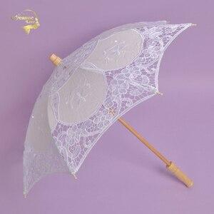 Image 3 - מכירה לוהטת לבן בעבודת יד רקום תחרת השמשייה שמש מטריית כלה חתונת מסיבת יום הולדת קישוט חתונת דקור BU99037