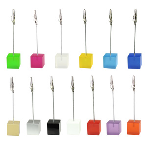 Image 4 - Lot 50pcs Memo Clips Cube Wire Photo Holder Logo Custom Wedding Place Card Holder Promotion Gift Personalize Giveaway freebie
