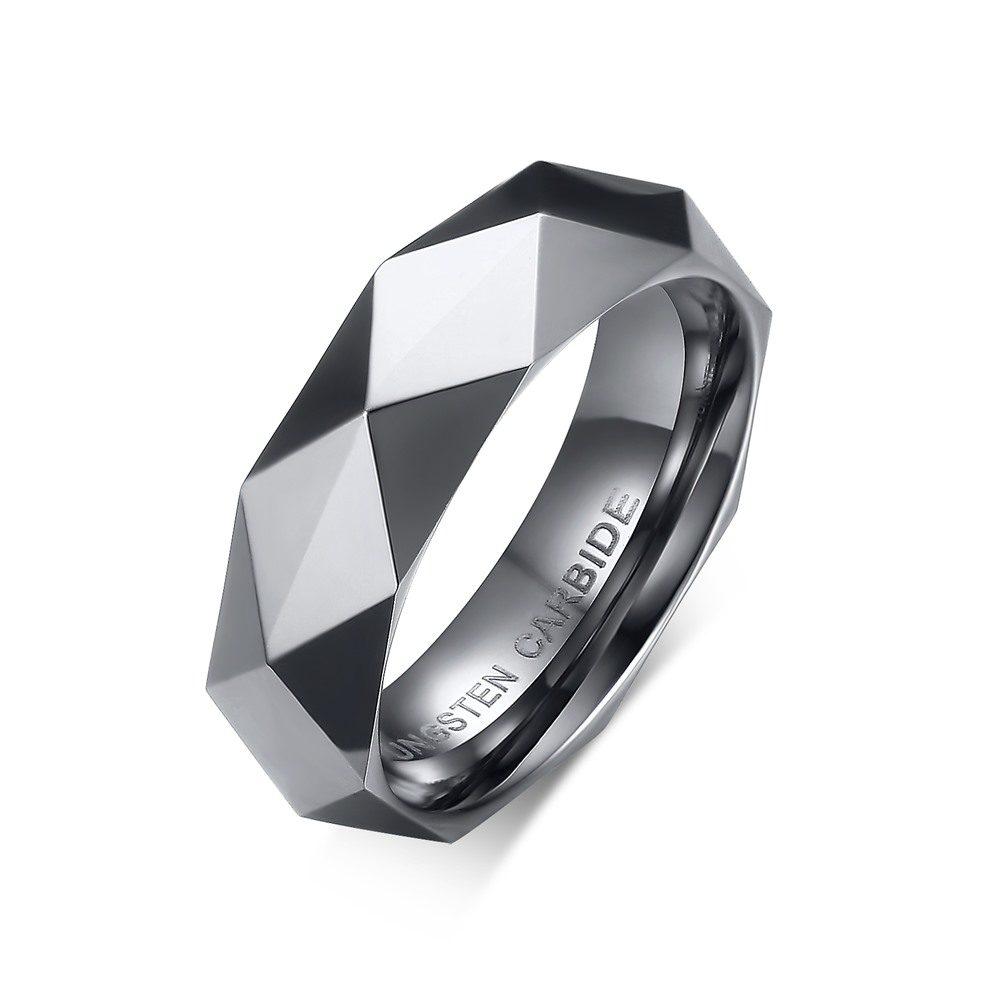 Hot Sale Top Fashion Anillos 6mm Mens Womens Multi-faceted Rhombus Steel Rings Wedding Band In Rose Plated Baguestcr-033