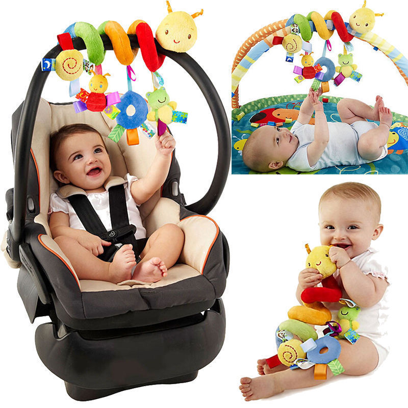 Baby Spiral Activity Hanging Toys Rattle Bell Plush Toy for Infant Stroller LC