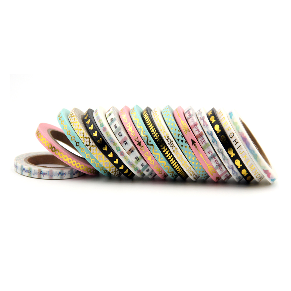 (3pcs/Set) Pink,mint,black Color Foil Washi Tape Set Scrapbooking Decorative Tapes Adhesive Tape Decorativa School Supplies
